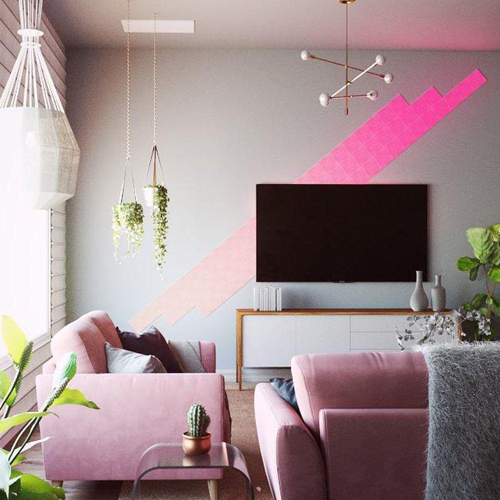 Nanoleaf Canvas Starter Kit 9er Pack Wohnzimmer Leuchte Inneneinrichtung Beleuchtungsideen