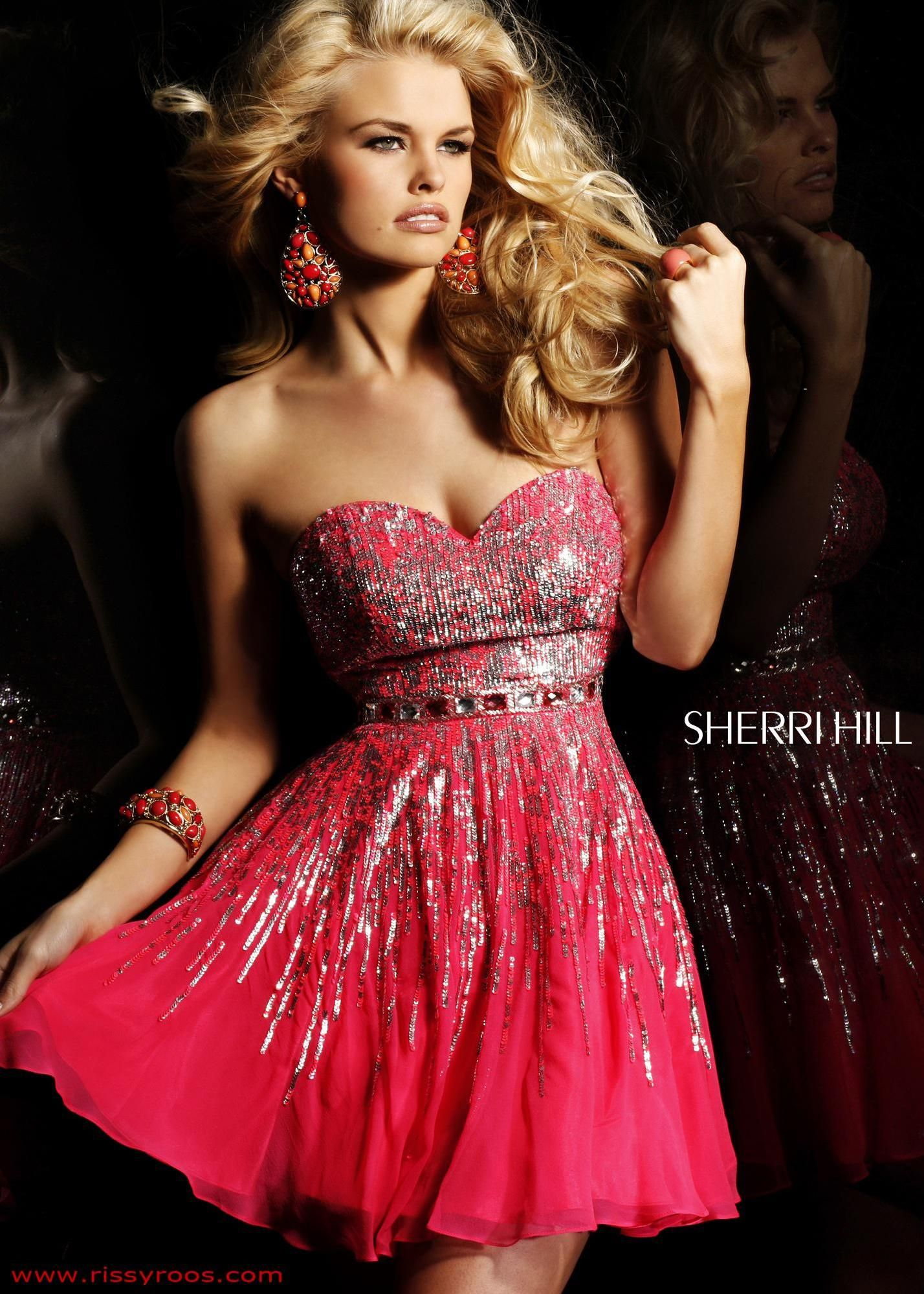 Sherri hill prom dress style available in coralsilver aqua