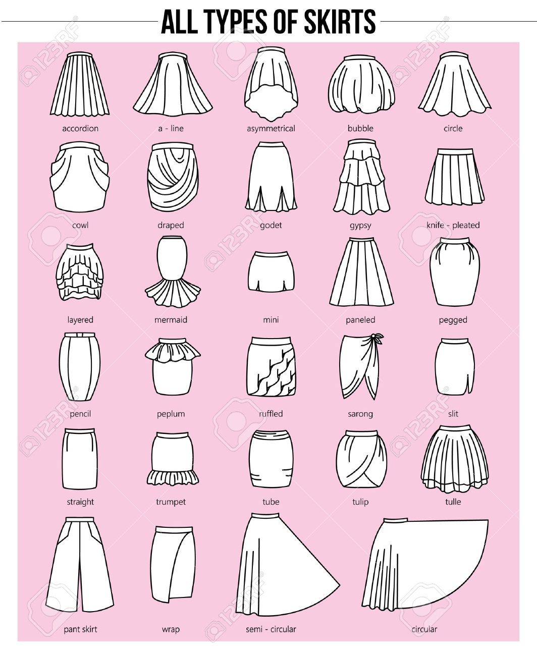 Photo of Set of different types of skirts on pink background. Simple flat