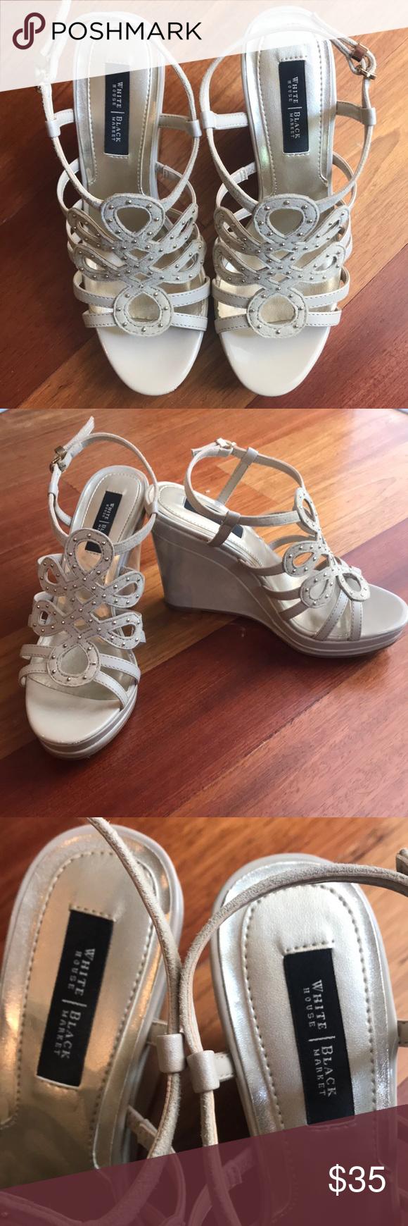 White House/Black Market wedge sandal. 6M EUC Cream colored wedge sandals. Made ...