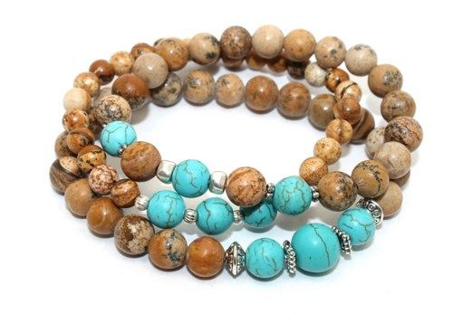 Picture Jasper, Turquoise Magnesite and Silver Plated Accents Stretch Bracelet from AyaDesigns http://www.artfire.com/ext/shop/product_view/AyaDesigns/7138963/picture_jasper_turquoise_magnesite_and_silver_accent_stretch_bracelet/handmade/jewelry/bracelets/gemstone