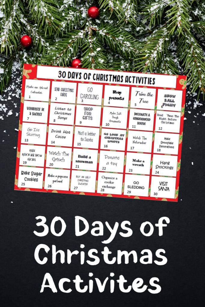 30 Days Of Christmas Activities For Kids Free Printable In 2020 Christmas Activities Christmas Activities For Kids Fun Christmas Activities