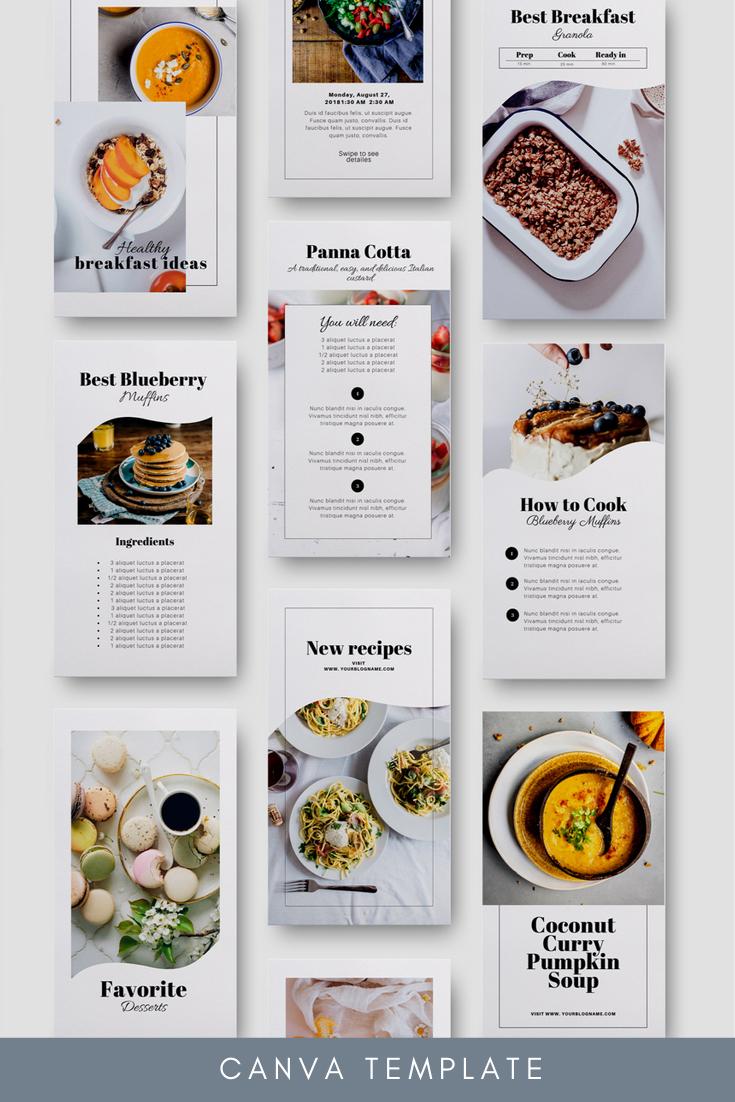 Food Blogger Instagram Set Canva Food Magazine Layout Food Graphic Design Cookbook Design