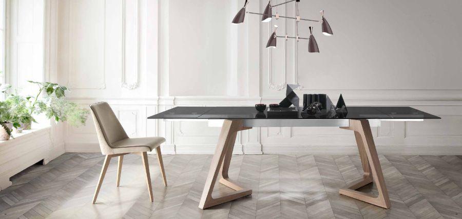 Mesa extensible de madera y cristal villalba - Mesas de comedor de cristal modernas ...