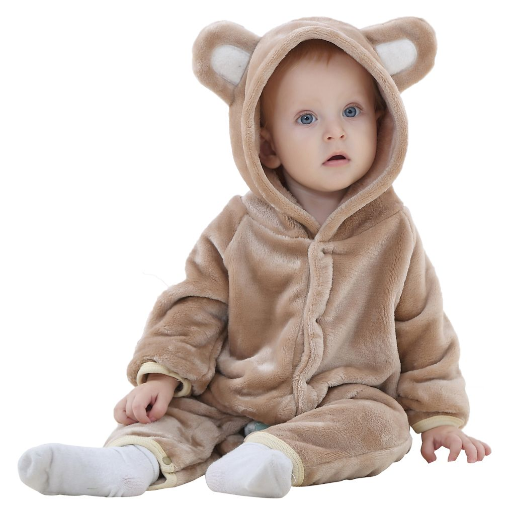 Cute Animal Shaped Flannel Rompers Winter Baby Kids Cosplay Hoodies Jumpsuit