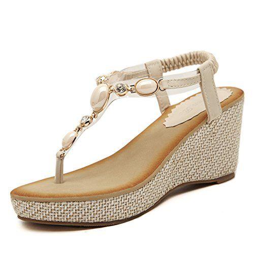 Très Chic Mailanda Damen Zehentrenner Flip Flops Sandalen mit Perlen (40, Beige)