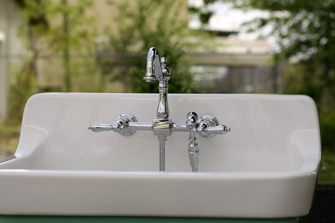 Kingston Brass Ks1241albs Heritage Double Handle 8 Inch Center Wall Mounted K Wall Mount Kitchen Faucet Kitchen Faucet With Sprayer Kitchen Faucet