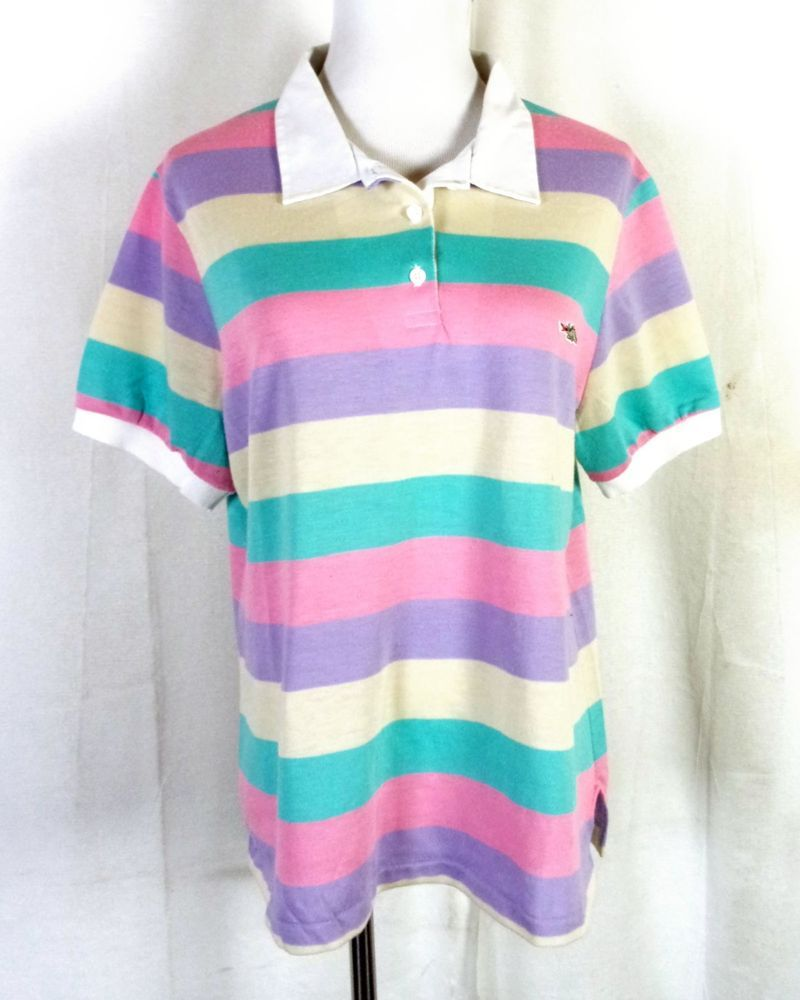 22cc4fa4 vtg 60s 70s Sears Maternity Wear retro Pastel Striped Polo Shirt Dragon  Logo XL