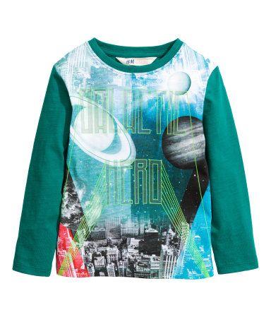 Shirt met lange mouwen | Petrol | Kinderen | H&M NL