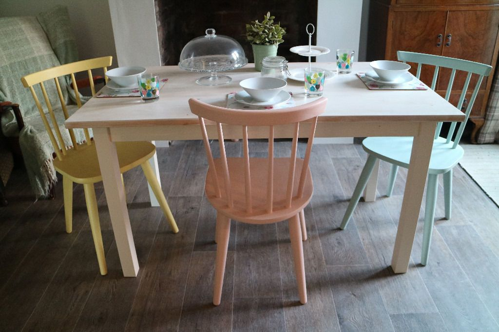 Ercol Style Dining Chairs And Table Shabby Chic 3 Multi