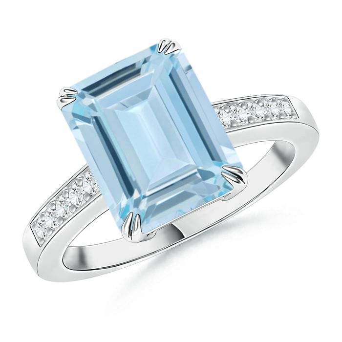 Angara Double Prong-Set Cushion Emerald Cocktail Ring in White Gold HZt9oSV