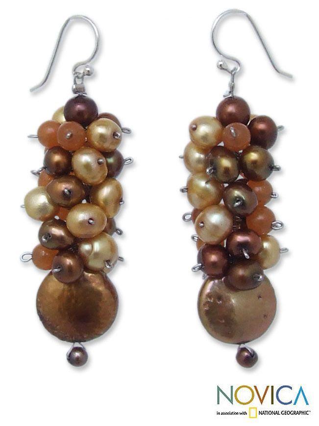 Novica Pearl and Carnelian 'Golden' Cluster Earrings