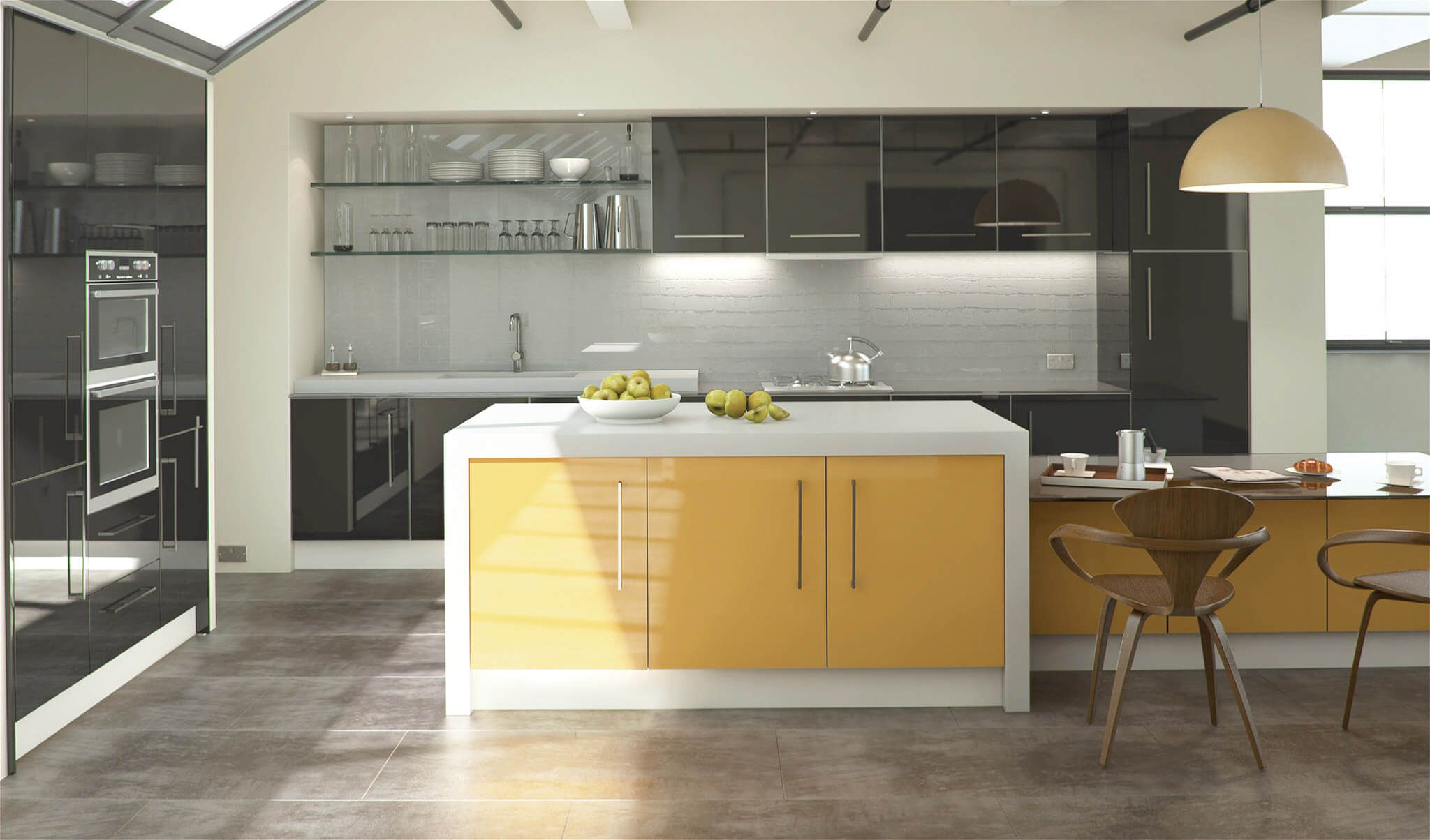 Acrylic Cabinet Doors in a High End Modern Kitchen