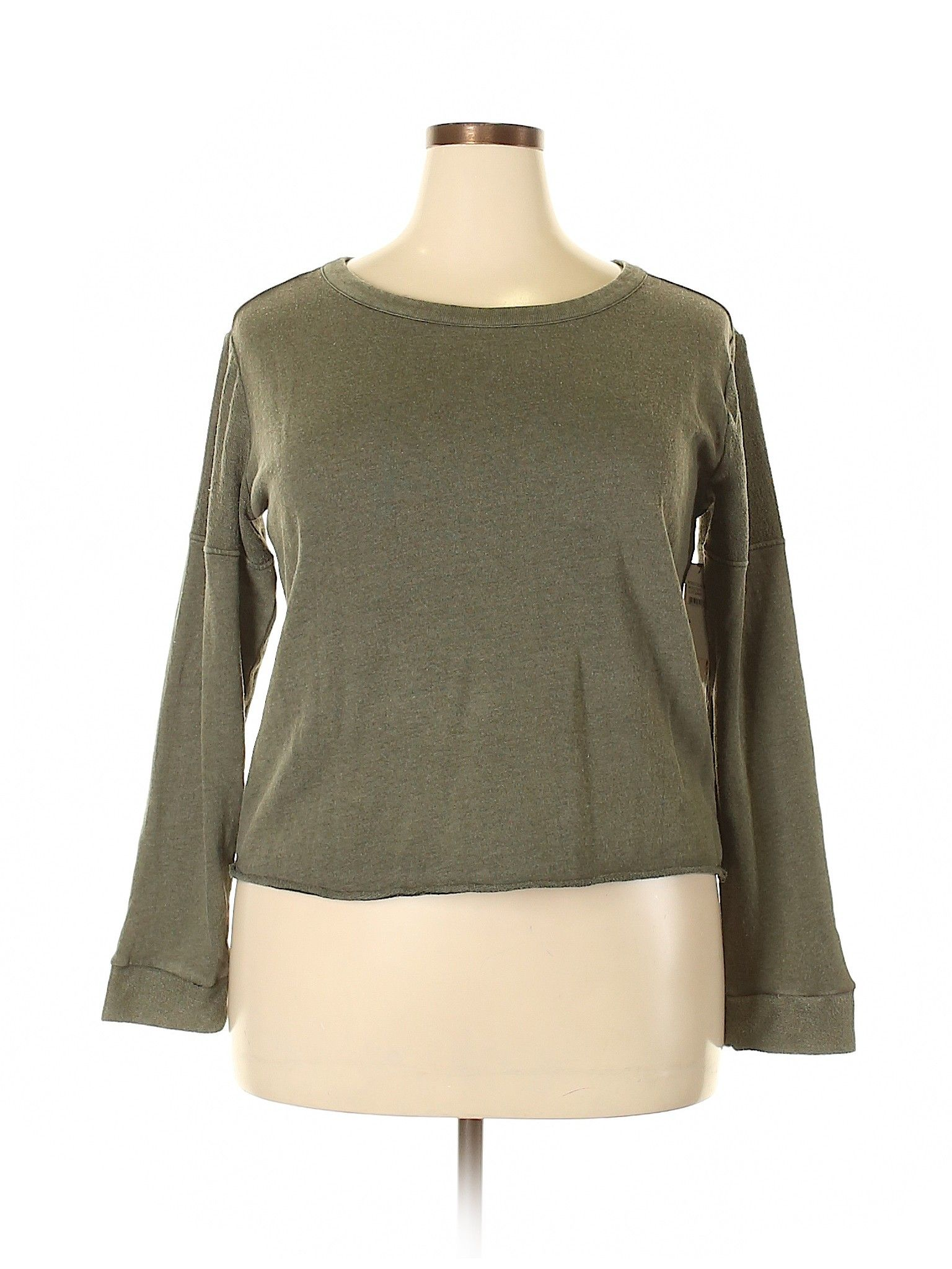 Melrose And Market Sweatshirt Green Solid Scoop Neck Women S Clothing Size 1x Womens Clothing Sizes Clothes