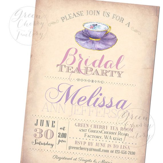 Watercolor Tea Party Invitation Vintag by GreenCherryFactory, $1800