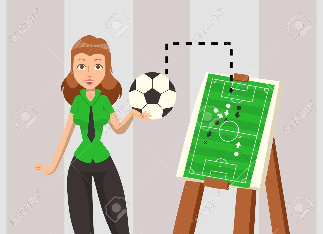 Female Soccer Coach Explaining Game Strategy Vector Illustration Football Team Plan Scheme Woman Ca In 2020 Social Media Design Graphics Team Teaching Small Designs