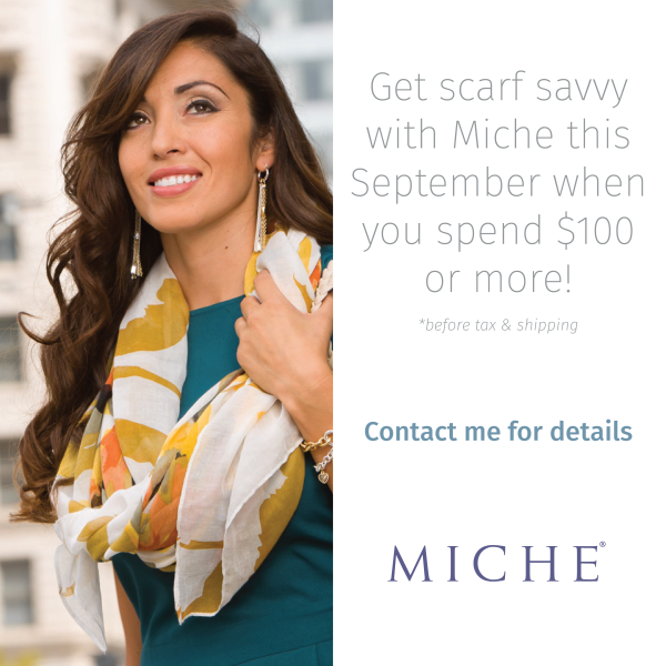 Get 2 Free scarves in September with qualifying purchase! #handbags #michefashion