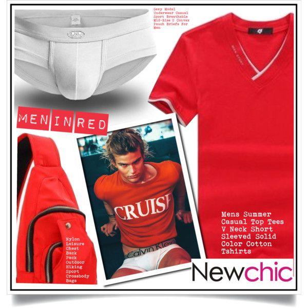 Newchic - Men in red I/2 by ewa-naukowicz-wojcik on Polyvore featuring men's fashion and menswear