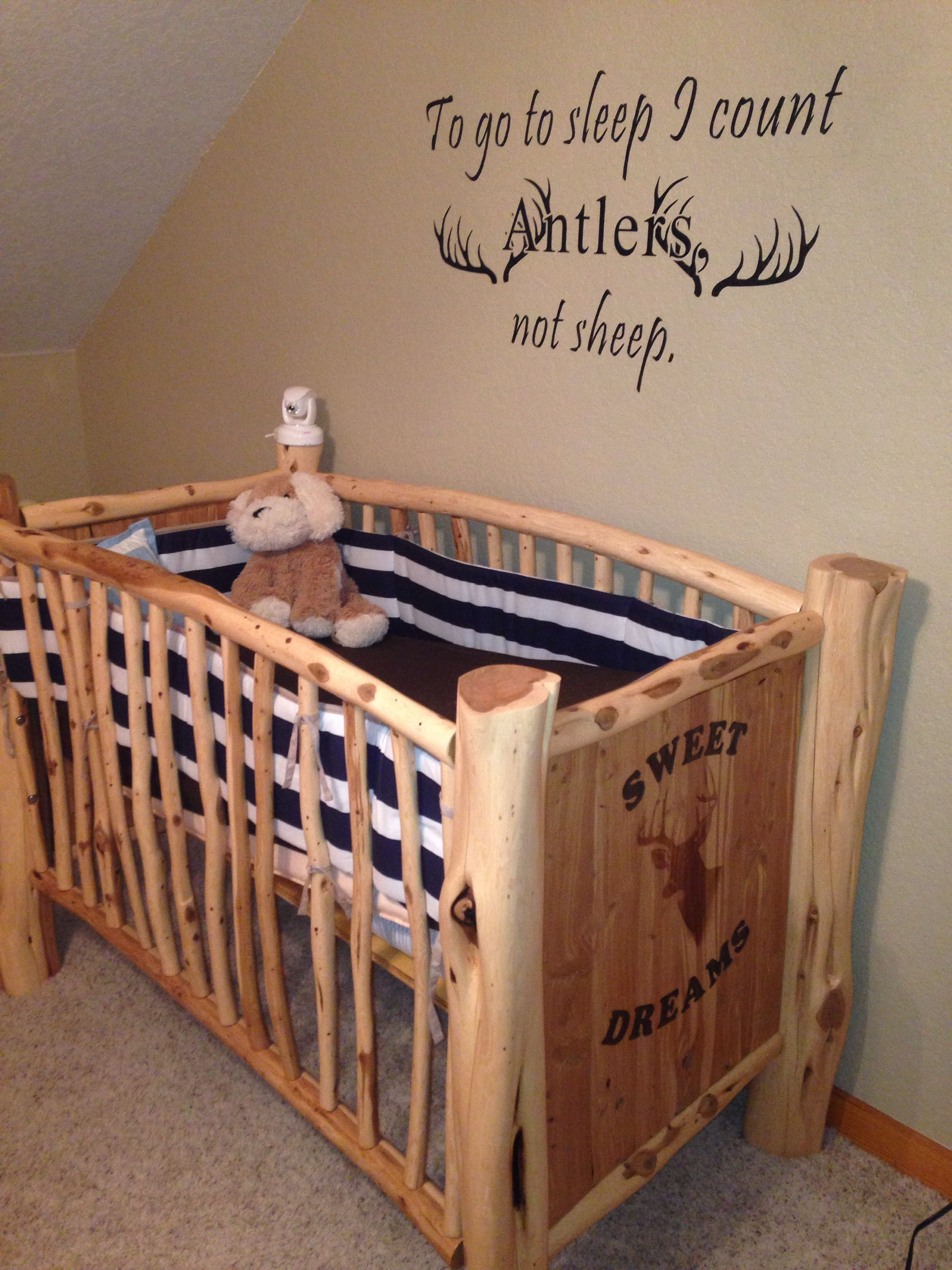 Country nursery home made crib by my father in law love this so much gitterbett baby - Baby jungenzimmer ...