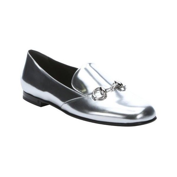 Gucci Silver leather horsebit detail loafers ($389) ❤ liked on Polyvore featuring shoes, loafers, silver, slip on loafer, polish shoes, horsebit loafers, silver loafers and leather loafers