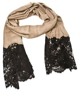 Scarf with lace ends.