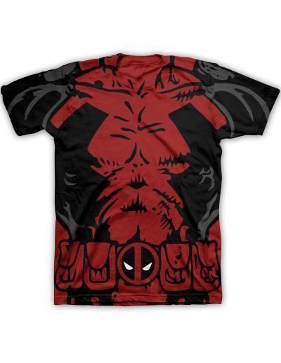 Marvel Men/'s Deadpool Chest Costume Sublimation Licensed T-Shirt Red New