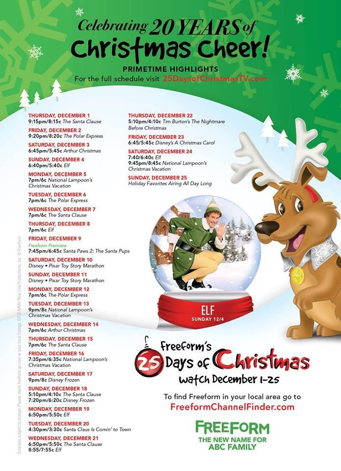2018 Christmas Movie Schedule On Tv Abc Family Christmas