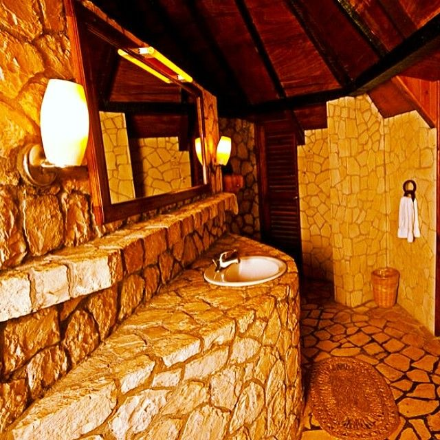 Rockhouse Pic Of The Day: Rock Bathroom At Villa 11 #rockhouse #negril #jamaica
