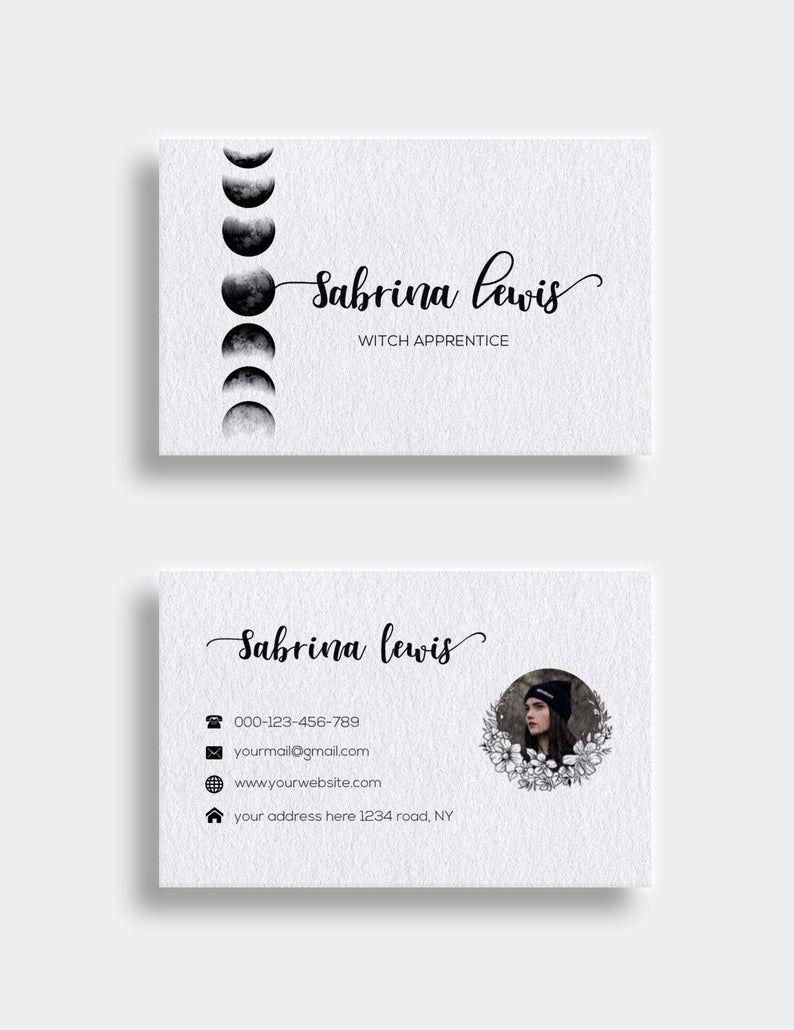 Printable Business Cards Moon Phase Carte De Visite Carte Etsy