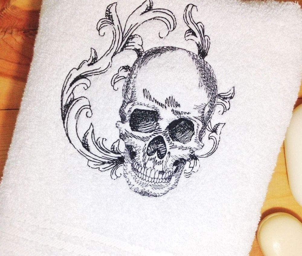 Baroque SKULL Towel~Embroidered Hand & Bath Towels~ Skulls Bathroom ...