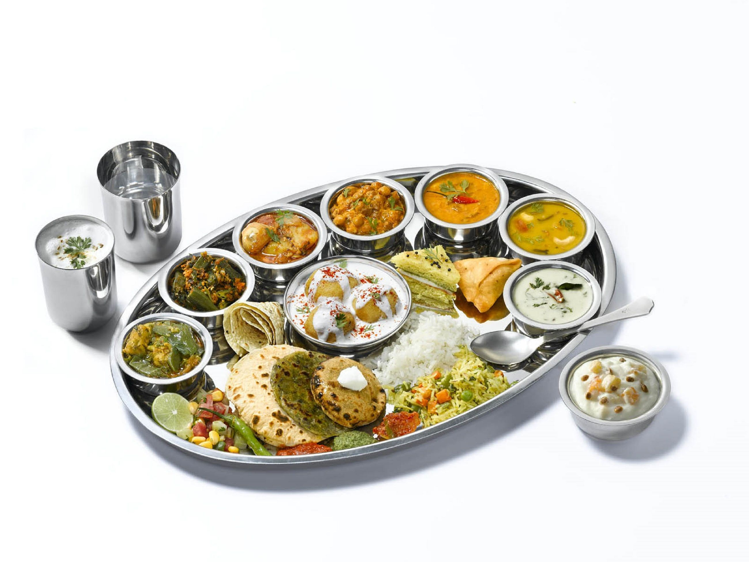 Happiness Thali Khandani Rajdhani Gujarati Thali World Vegetarian Day Gujarati Recipes