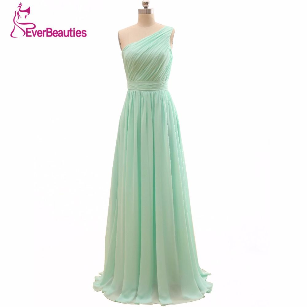 2017 Long Cheap Mint Green Bridesmaid Dresses Under 50 Floor Length ...
