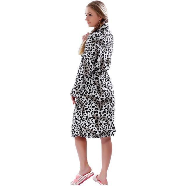 Women Plus Size Leopard Coral Fleece Warm Bathrobe Nightwear Kimono ...