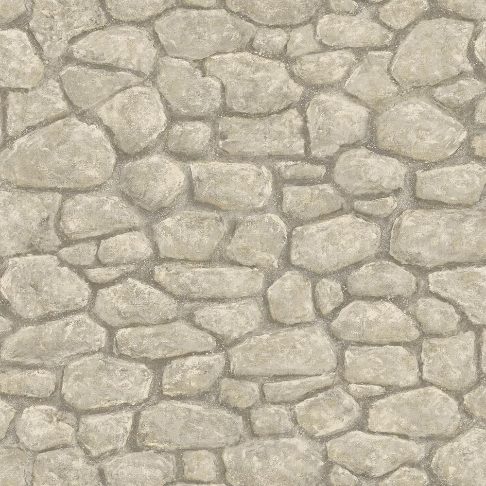 Chesapeake Camelot Grey Faux Boundary Stone Wallpaper
