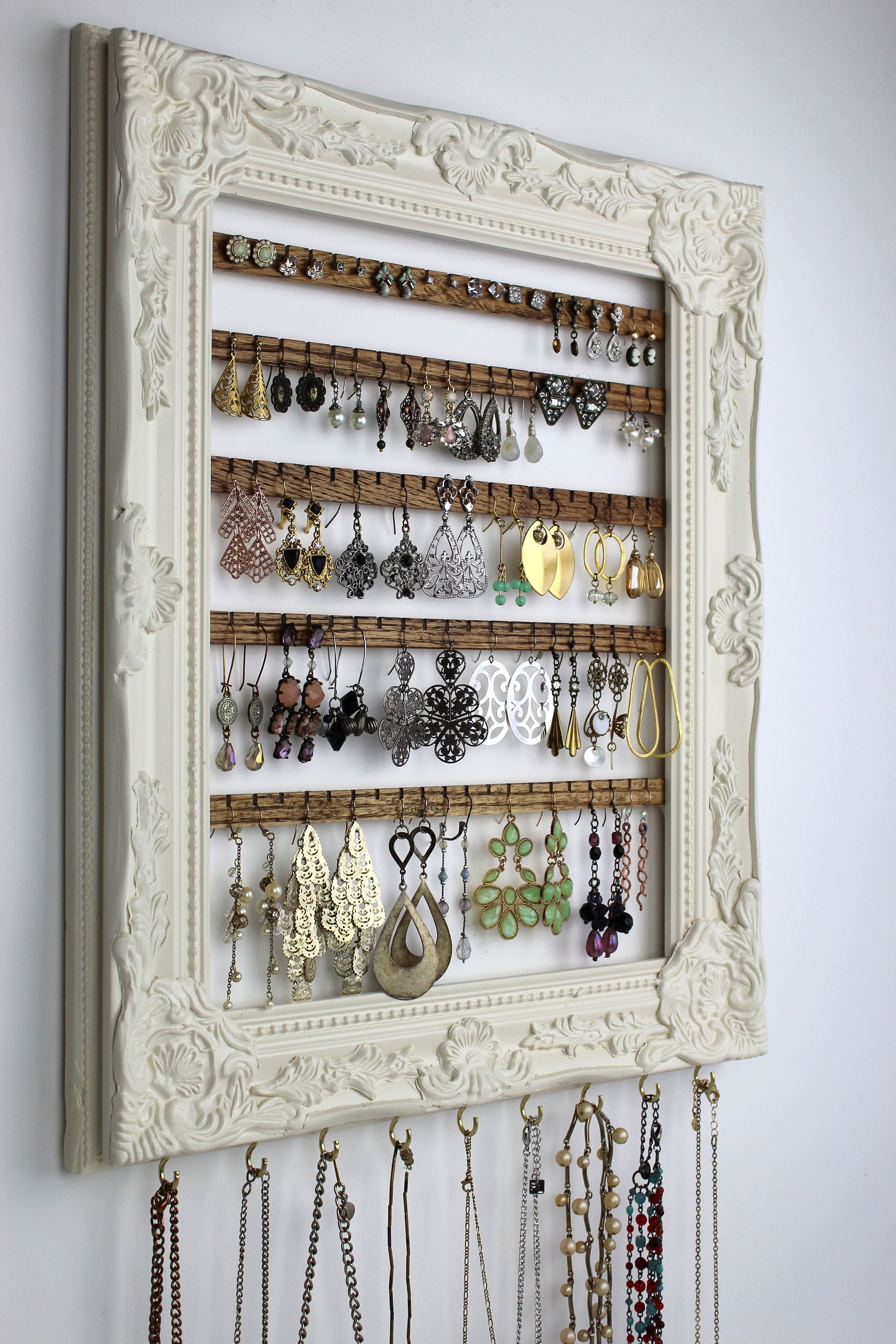 Cream Wall Mount Jewelry Organizer Framed Earring Hanger Hanging Jewelry Organizer Wall Earring Display Frame Earring Holder Frame In 2020 Jewelry Organizer Wall Wall Mount Jewelry Organizer Jewelry Wall
