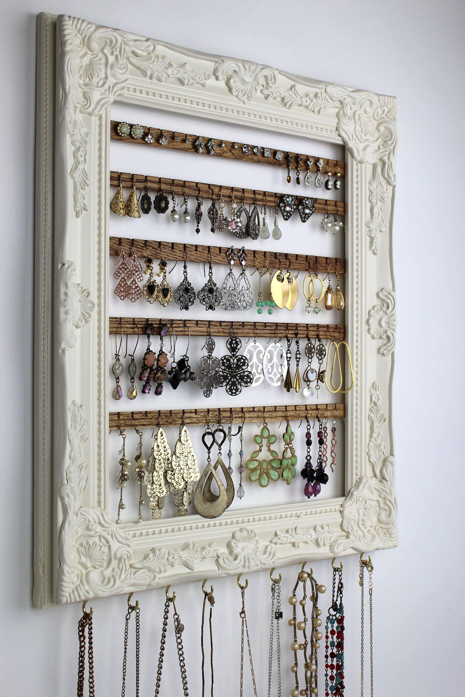 Cream Wall Mount Jewelry Organizer Framed Earring Hanger Hanging