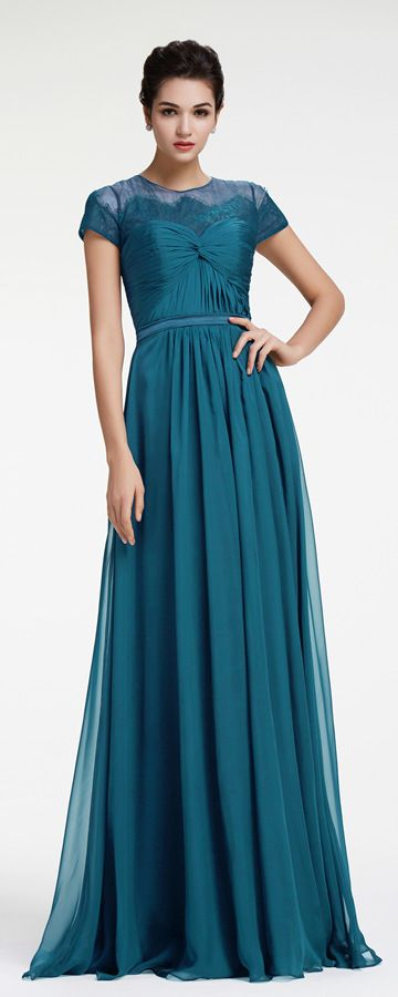 Teal Maid Of Honor Dresses With Sleeves Bridesmaid Dresses Modest