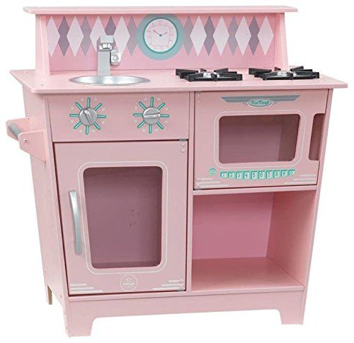 KidKraft Classic Kitchenette - Pink Playset. knobs that turn and click. Removable sink. Handy stove top Shelf for storage. Stylish stain finish on handles and knobs. Assembly required.