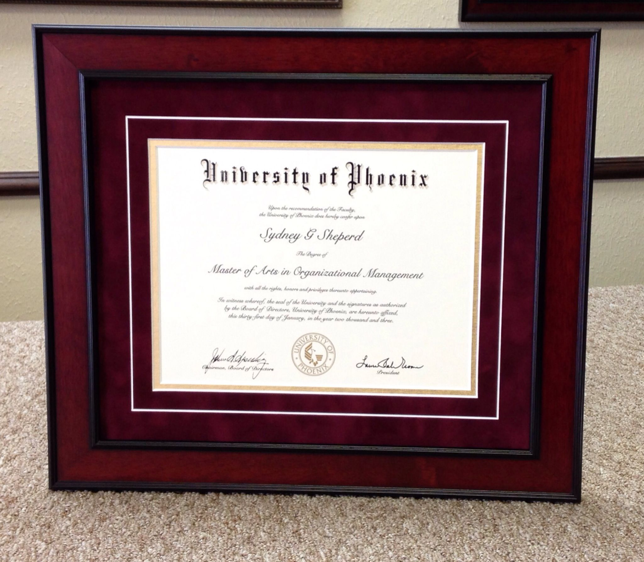 University of phoenix degree custom framed framing of degrees university of phoenix degree custom framed filmwisefo