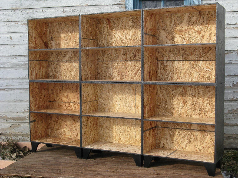 Modular osb black stain bookcase tansu step six cubes for Diy modular bookcase