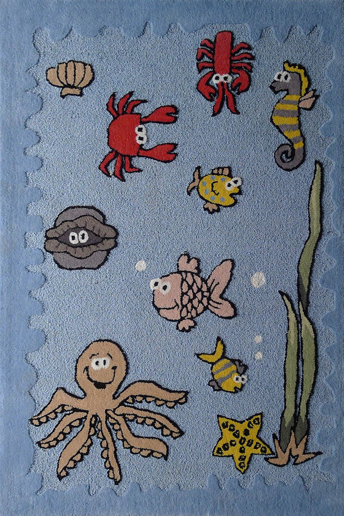 4' x 6' ft  Boy's Aquarium Blue Bedroom Kids Area Rug with Sea Animals is part of Kids bedroom Rug -  No AssemblySoft Extremely Durable rug, Extraordinary with artistic Designs that fit perfectly in any kids Bedroom, Nursery Room, School, etc  Our best selling line that provides an easy way to unify your décor  This collection features warm, rich tones in a color and educational patterns  It's a must have area rug for indoors  These rugs have Unique tone colors that don't fade after wash  Easy to maintain and wash  Details  This rugs Measures ~4ft x 6ft 1 inch thick Pile Height  Stain Resistant Weave Hand Tufted , Hand Carved  Durable & Thick  Material  100% Poly Acrylic Origin Made in USA and Imported   PLEASE SEE CLEANING PAGE FOR PROFESSIONAL CLEANING INSTRUCTIONS      Note The digital images we display have the most accurate color possible  However, due to differences in computer monitors, we cannot be responsible for variations in color between the actual product and your screen  Please be advised that in some cases patterns and colors may vary according to ~Size  Sizes are approximate