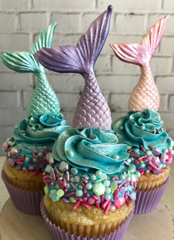 Mermaid Party Mermaid Tail Cupcake Topper Mermaid Birthday