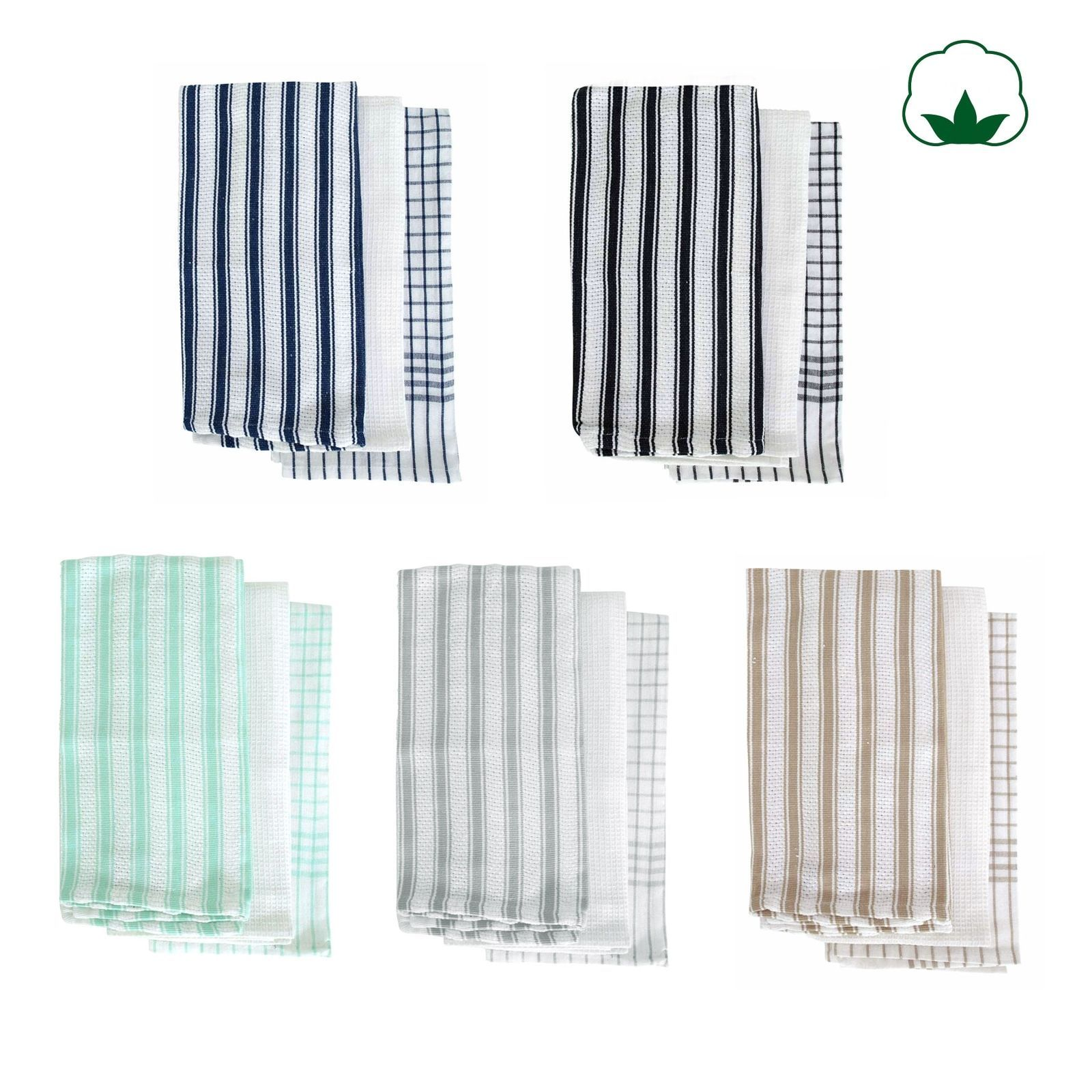 16 15 Aud Set Of 3 Gardenia Cotton Kitchen Cleanning Tea Towels 50x70cm By Idc Homewares Ebay Home Garden Products Tea Towels Dish Drying Mat To