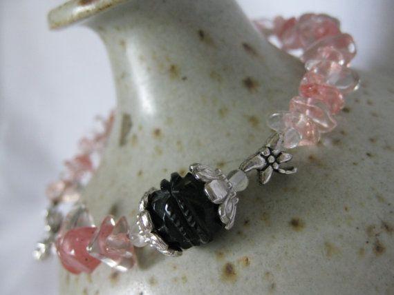 Pink strawberry quartz bracelet with vintage carved by Trudysbeads