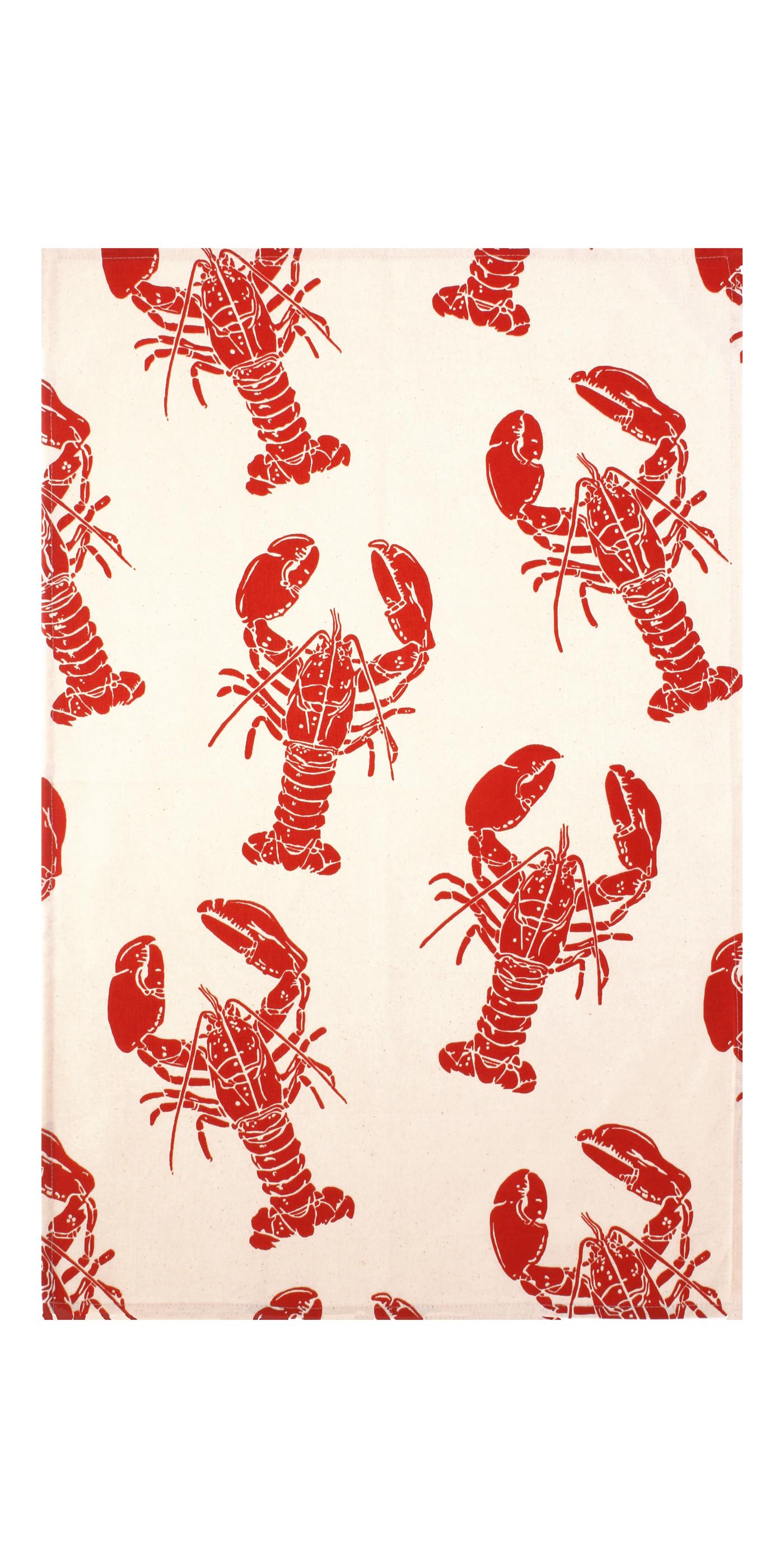 Lobster print cotton tea towel Achtergronden