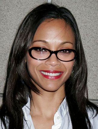 fd12bfb8d5a Davis Vision - Zoe Saldana s glasses have a unique shape that fit perfectly  on her oval-shaped face.