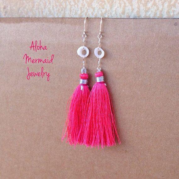 Pink Tassel Puka Earrings,Sterling Silver Wire Wrap,White Hawaiian Puka Shells,Hot Pink Silk Tassel,Boho Summer Shoulder Dusters,Beach Girl