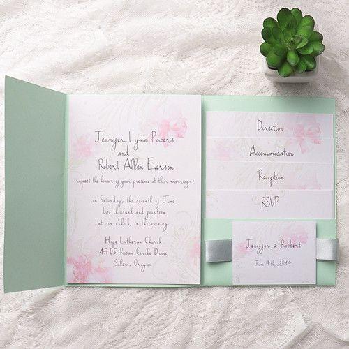 Cheap Pink Flower Mint Green Pocket Spring Wedding Invites EWPI132