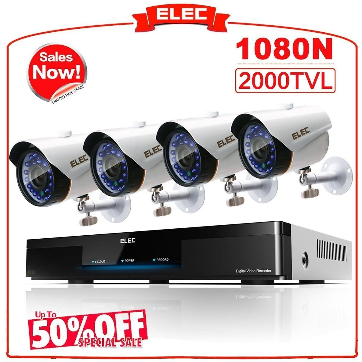AHD CH N DVR Home Security Camera System CCTV Monitoring Video