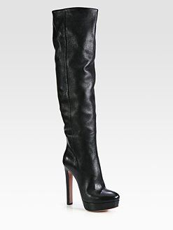 aab0afc2648 Prada - Leather Over-The-Knee Platform Boots Shoe Bag